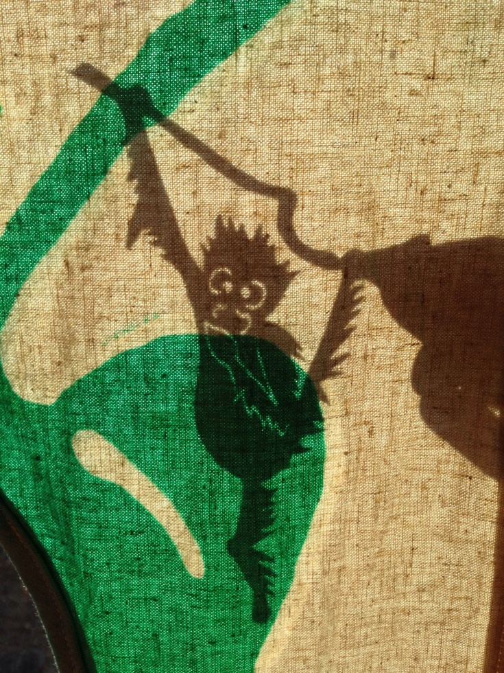 Orangutan shadow puppet behind the screen