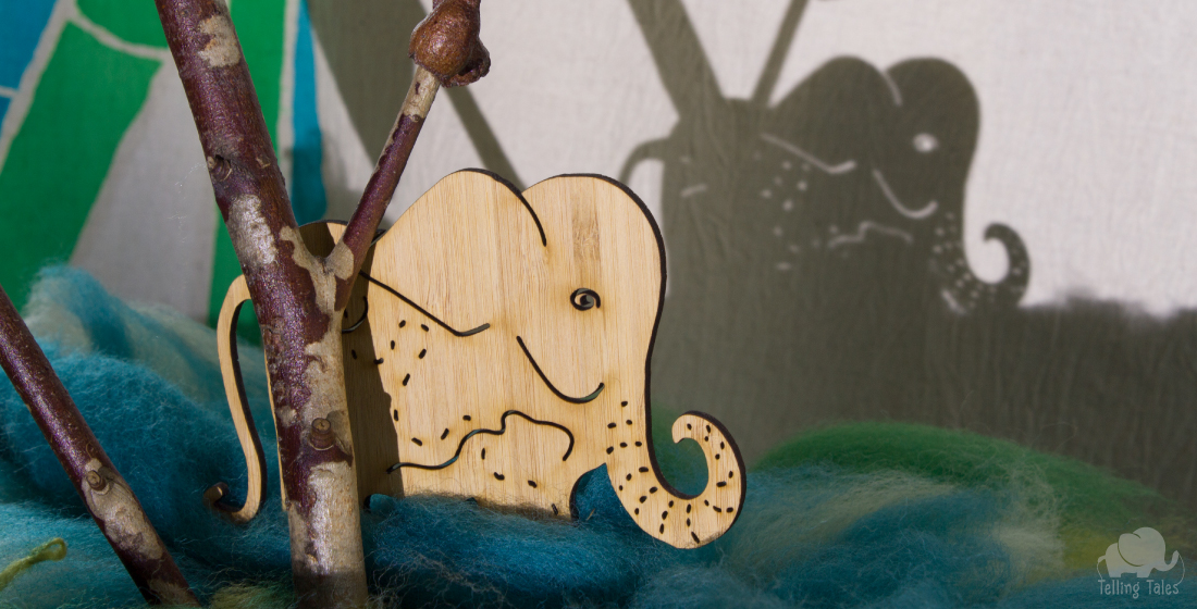 Bamboo elephant shadow puppet wandering through the rainforest