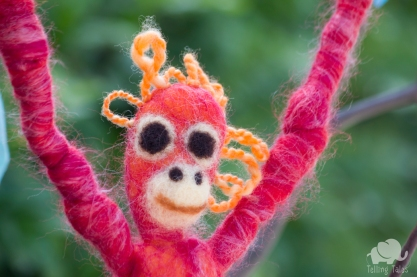 Chilli, the orangutan felted marionette close up