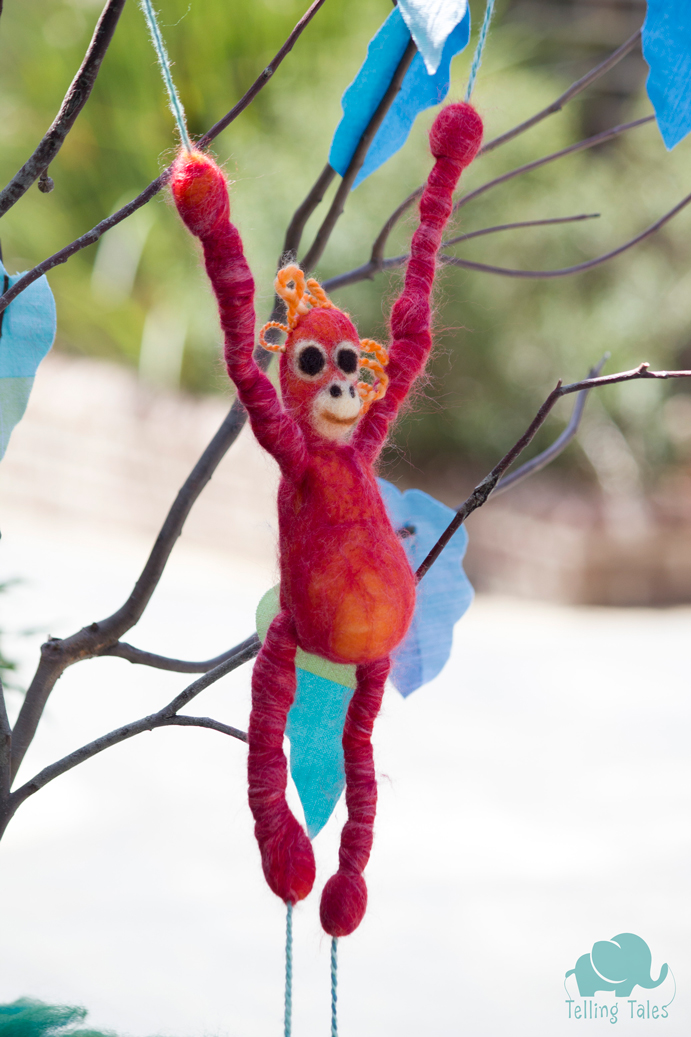 Chilli, the orangutan felted marionette, just hanging out.