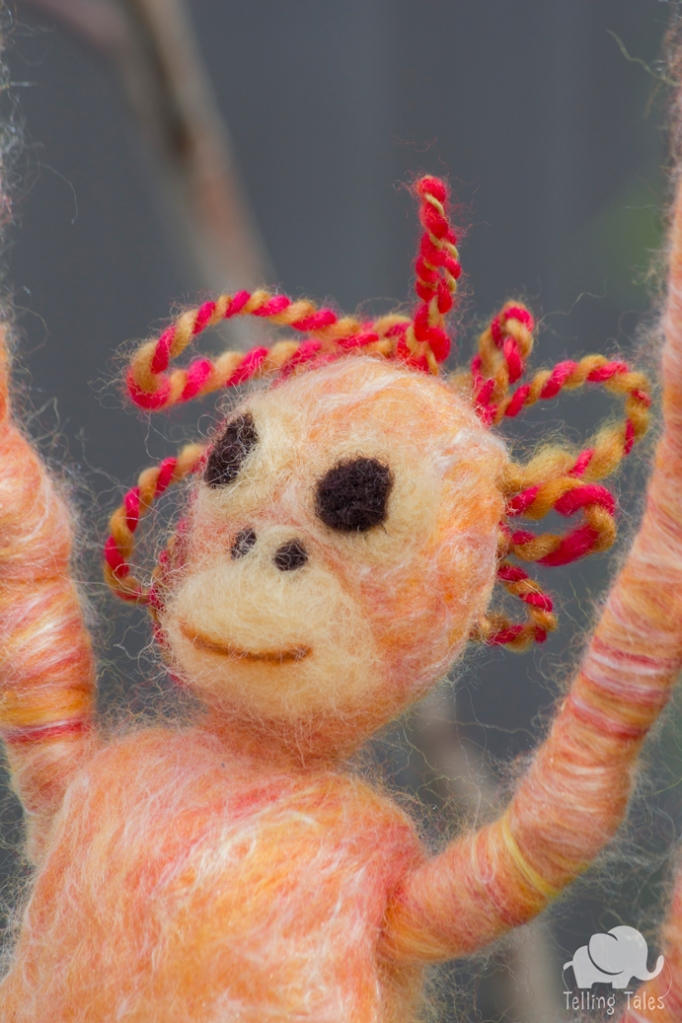 Lily, the orangutan felted marionette's hair style