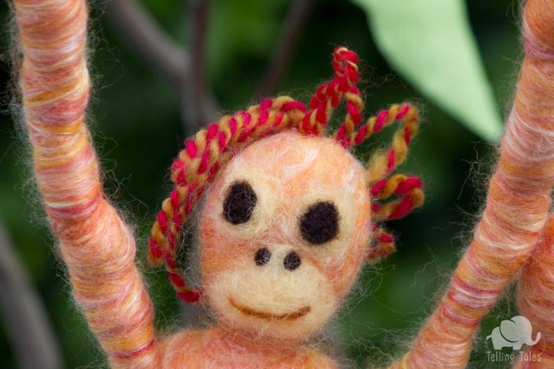 Lily, the orangutan felted marionette close up